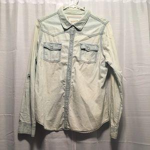 Arizona Light Denim Long Sleeved Button Up Shirt L